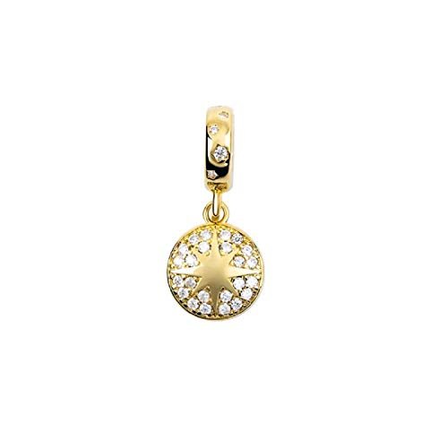 FeatherWish 925 Sterling Silver Lucky Golden Star Pendant Dangle Charm With Cubic Zirconia And Gold Plating Compatible With Pandora Bracelet