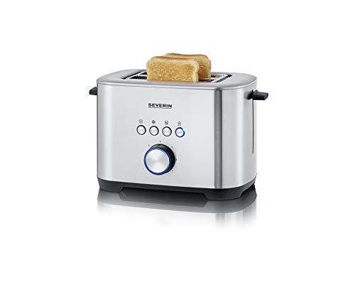 SEVERIN AT 2510 Toaster mit Bagel-Funktion für einseitiges und energiesparendes Toasten, 800 W, 2 große Röstkammern und integrierter Brötchenaufsatz