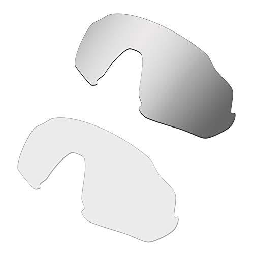 HKUCO Renforcer Rechange Lentille Pour Oakley Flight Jacket Lunettes de soleil Silver/Transparent Polarisé