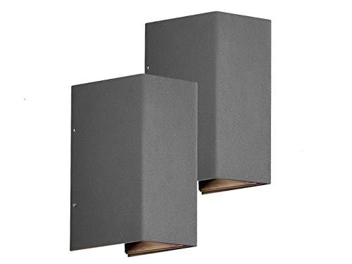 2er SET - Exklusive UP and DOWN Außenwandleuchten LED Druckguss Aluminium in Anthrazit lackiert Lichtaustritt verstellbar bis 90°, IP54 Höhe 17cm