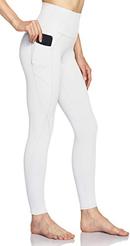 TSLA Damen High Waist Yoga-Hosen mit Taschen, Bauchkontrolle Yoga Leggings, Non-See-Through 4 Way Stretch Workout Tights, Fap54 1pack - White, XS