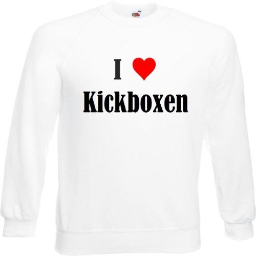 Reifen-Markt Sweatshirt Damen I Love Kickboxen Größe S Farbe Weiss Druck Schwarz