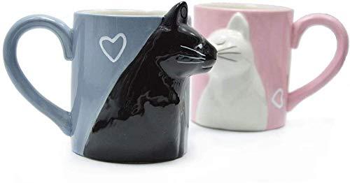 Yalucky Taza para Parejas de té café Mug Juego de Tazas Beso Gato, Gatito Gracioso único Cerámica para Amantes Novios Regalo a Juego para cumpleaños Aniversario Compromiso