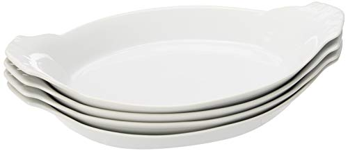 HIC Harold Import Co. Kitchen Oval Au Gratin Baking Dish Set, Fine White Porcelain, 10-Inch, Set of 4