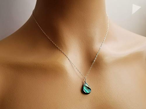 Small Sterling Silver Abalone Necklace, Dainty Silver Jewelry, Green Blue Abalone Sea Shell Jewelry, Boho Jewelry, Mothers Day Gift