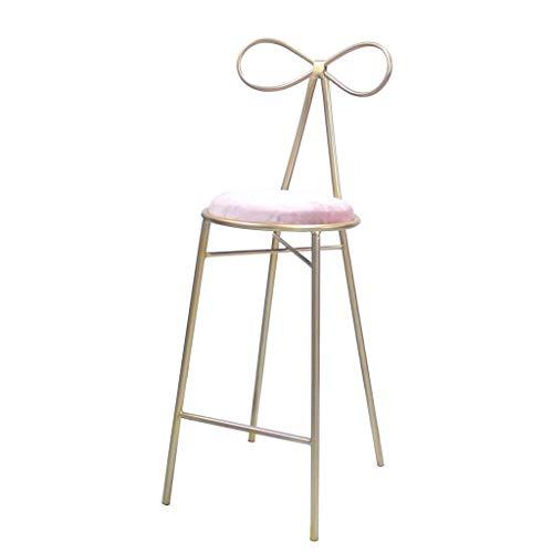 QTQZDD barkruk barkruk Nordic bar stoel suède kussen boog rugleuning goud metaal houder barkruk creatieve mode koffiestoel (grootte: 65 cm) 1 1