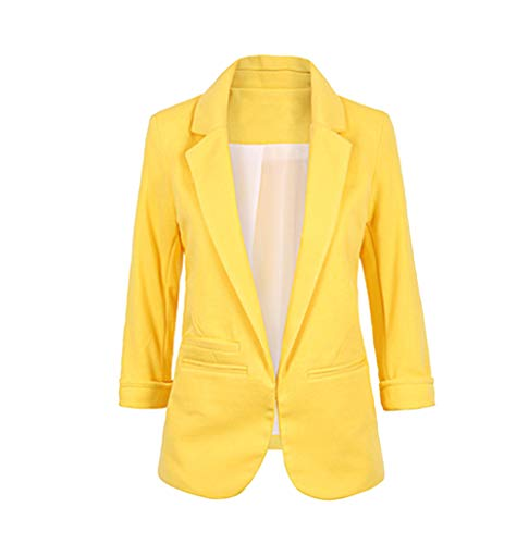 Chaqueta de Traje de Negocios para Mujer Blazers Manga 3/4 Slim Fit Elegante Blázer Amarillo M