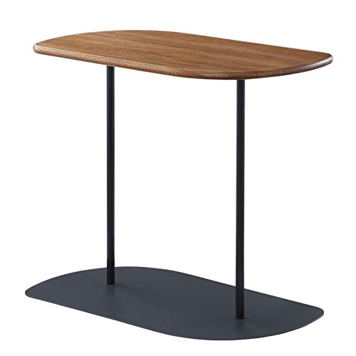 Mesa de café pequeña de madera nórdica, mesa auxiliar pequeña para sofá de salón, lado pequeño, de hierro forjado, simple y pequeña mesa de té cuadrada (color: color nuez)