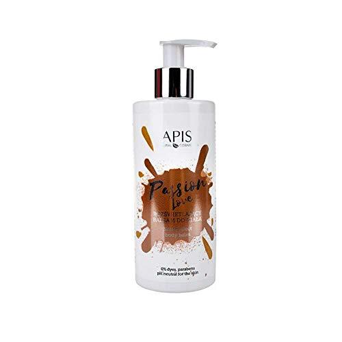APIS PASSION LOVE Bálsamo Brillo para el cuerpo con marakuya, lino, aloe y ácido hialurónico, línea perfumada y piel hidratada, 300 ml
