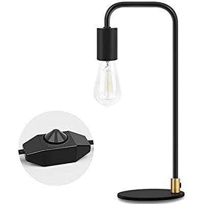 TechSense Industrial Table Lamp, Dimmable Edison Bulb Desk Lamp, Modern Metal Lamp for Dorm, Office, Bedroom, Living Room (Without Bulb)