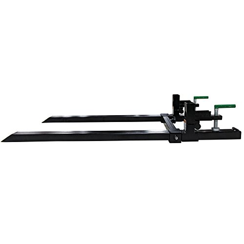 Titan Attachments Clamp on Pallet Forks Light Duty 60 in 1500 lb Max with Stabilizer Bar for Loader Bucket Skid Steer Easy to Install
