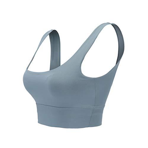 Cwang Sujetador de Encaje Transparente con Aros y Cobertura Total sin Relleno para Mujer,Azul grisáceo,S