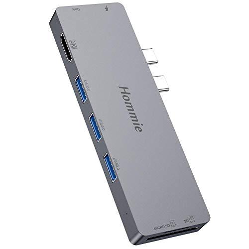 Hommie USB C Hub 8 in 1 für MacBook Pro 16 inch, 2018/2017/2016 und MacBook Air 2019/2018, Type C Adapter mit Thunderbolt 3, Typ C, 4K HDMI, 3 x USB 3.0, TF/SD Kartenleser, Spacegrau