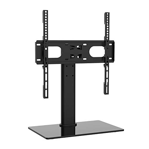 WALI Table Top TV Stand with Glass Base and Security Wire Fits Most 3255 inch LED LCD OLED and Plasma Flat Screen with VESA Pattern up to 400x400 TVDVD03 Black