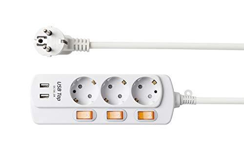 NEUVIELE 3 Fach Steckdosenleiste mehrfachsteckdose mit USB anschluss Schalter Steckdose verteiler Steckerleiste überspannungsschutz 3300W 250V/16A