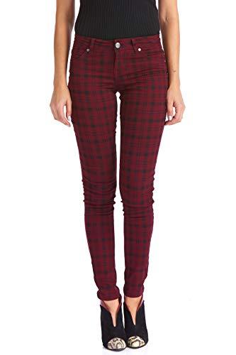 Suko Jeans Damen Plaid Skinny Jeans Tartan Pants Power Stretch Denim - Rot - 34