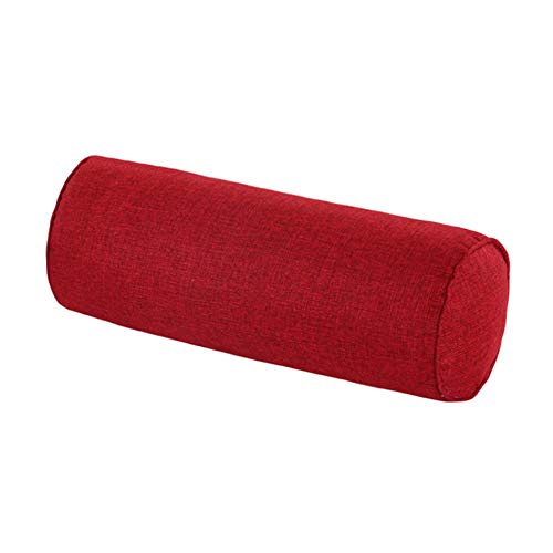 Round Neck Pillow16x6 Inch for Neck Backrest for Car or Office Chair Sofa, Semi-Roll Pillow with Washable Organic Cotton Cover.(Wine red)