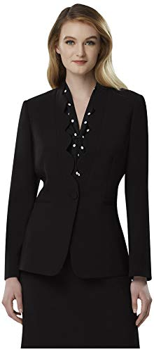 Tahari ASL Women's ONE Button Scallop Lapel Jacket, black 18