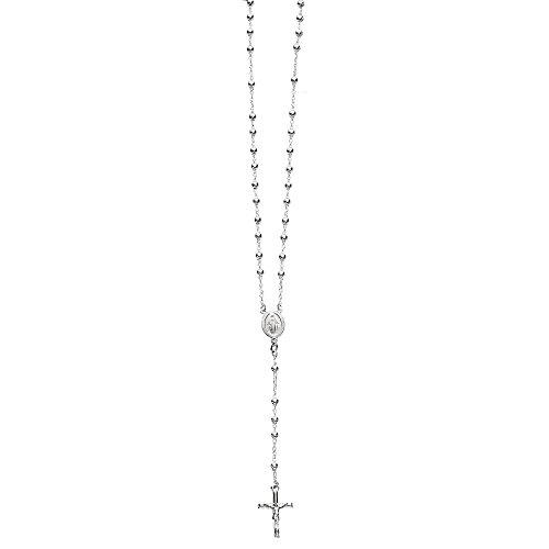 Ritastephens Plata de Ley 4 mm Rosario Collar de la Gota Virgen María Cruz Made in Italy (24 Pulgadas)