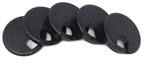 OHPROS Desk Grommet w/Cover for 2.5 Inch Hole. Black Plastic 5 Pack for Cable Management