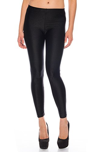 Kendindza Damen Glanz Wetlook Elastisch Stretch Legging Leggings High Waist mit Tasche (M, Schwarz)