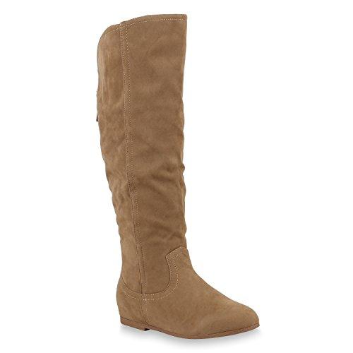 Damen Keilstiefel Leicht Gefütterte Stiefel Wedges Schuhe Zipper 153644 Khaki Bernice 36 Flandell