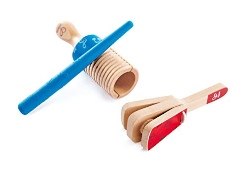 Hape Percussion Duo   Wooden Clapper & Guiro Hand Musical Instrument Toy Set for Toddlers