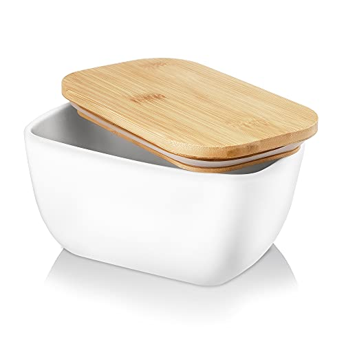 Nucookery Butter Dish with Lid, LARGE Porcelain Butter Keeper with Bamboo Lid Cover, Butter Storage Container for Countertop, Large Butter Dish with Covers Perfect for East West Coast Butter (White)