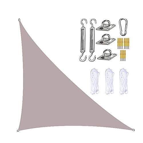 GNCCI Toldo Vela de Sombra Triangular 3 x 4X 5m,Protección UV Vela Solar en Poliéster con Kit de fijación Resistente, 3 Cuerdas, Patio Shack Toldo Vela Impermeable (Color : Khaki)