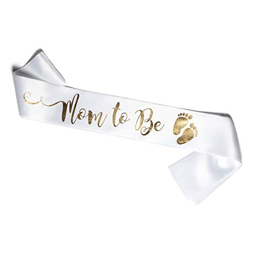 """Perfect White and Gold""""Mom to Be"""" Sash - Enjoy Your Baby Shower (White)"""