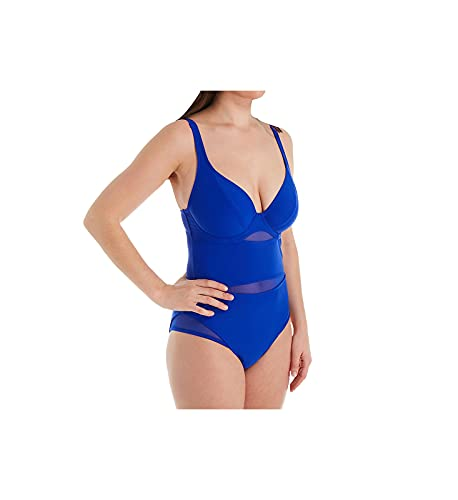 Curvy Kate Junior's Standard Sheer Class Plunge Swimsuit, Blue, 42FF