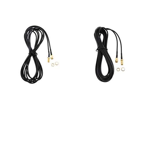 IPOTCH 2X Conector de Antena RP-SMA Cable de Extensión para Enrutador WLAN...