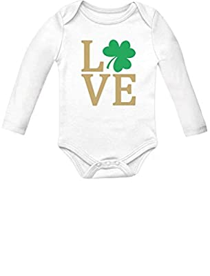 Irish Clover Love St Patrick's Day Cute Irish Baby Long Sleeve Bodysuit Outfit 18M (12-18M) White