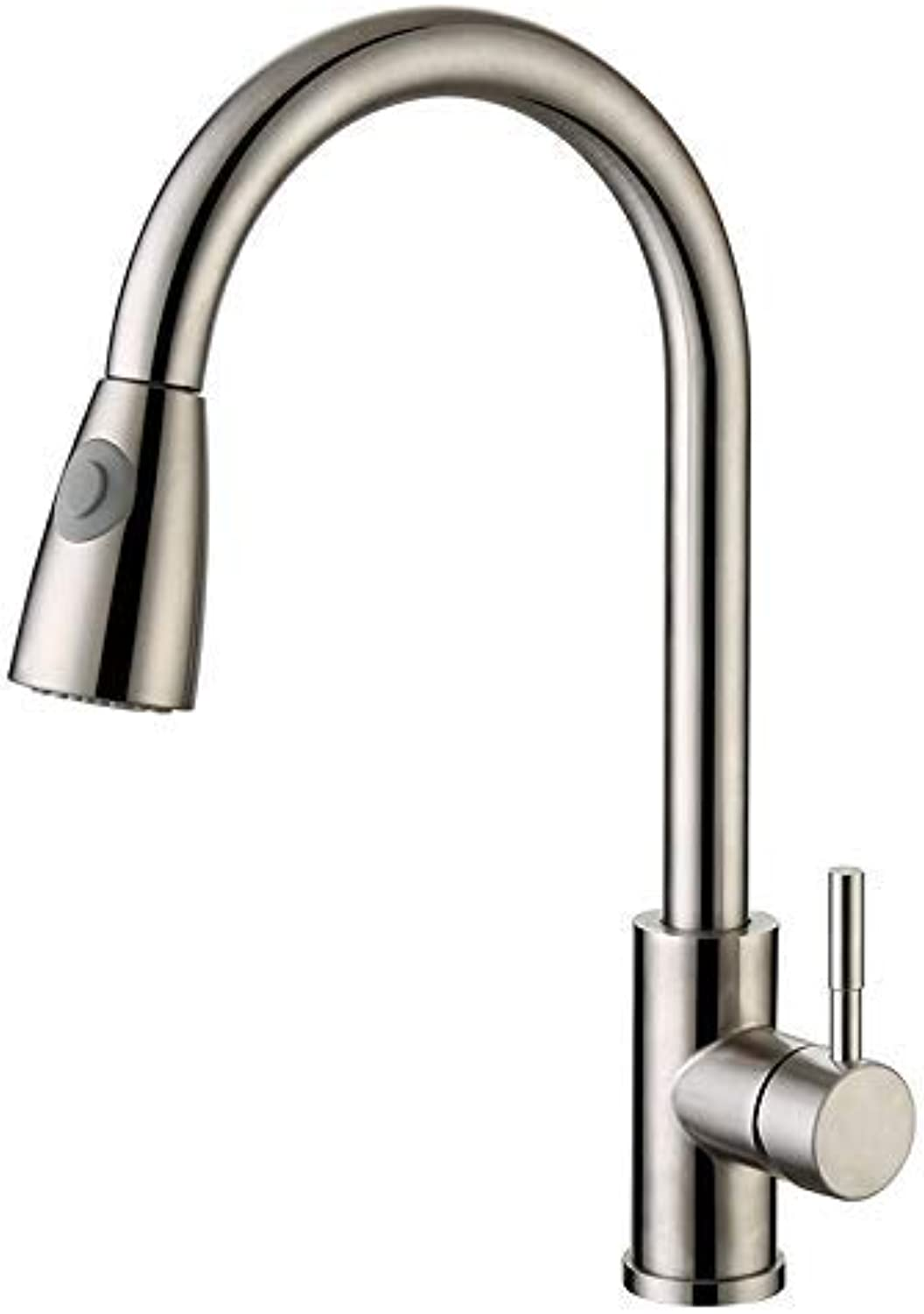 Oudan 304 Stainless Steel Kitchen Faucet Sink Faucet Caipen Hot and Cold Water Faucet Two Tranches (color   -, Size   -)