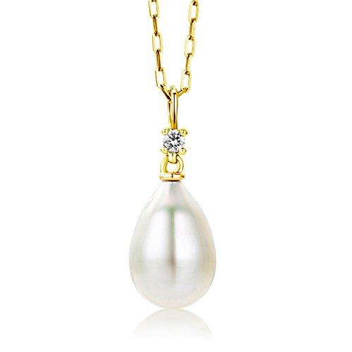 Miore Kette - Halskette Damen Kette Gelbgold 18 Karat / 750 Gold Süßwasserperle mit Diamant Brilliant 45 cm