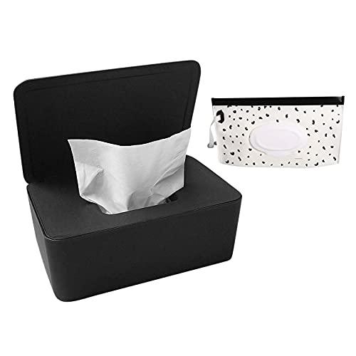 Dispensador de toallitas húmedas a prueba de polvo, caja de almacenamiento para pañuelos de papel, dispensador de toallitas húmedas, soporte con tapa para escritorio de oficina en casa