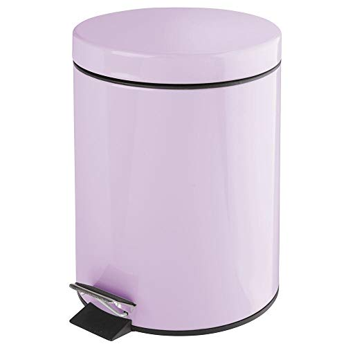 mDesign 1.3 Gallon Round Small Metal Step Trash Can Wastebasket, Garbage Container Bin - for Bathroom, Powder Room, Bedroom, Kitchen, Craft Room, Office - Removable Liner Bucket - Light Purple