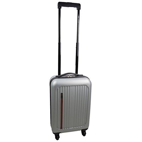 Premium Leonardo Koffer 31L Reisekoffer Handgepäck Trolley Hartschale Boardcase mit Lederapplikation (Silber)