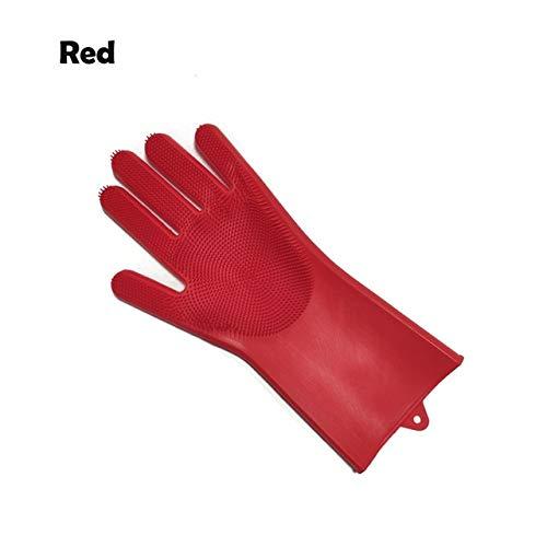 1 Silikonhandschuhe zum Reinigen der Schüssel und Reinigungsbürste Küchenhandschuhe zum Reinigen des Zimmers Geschirrspülhandschuhe - Rot Links, a2