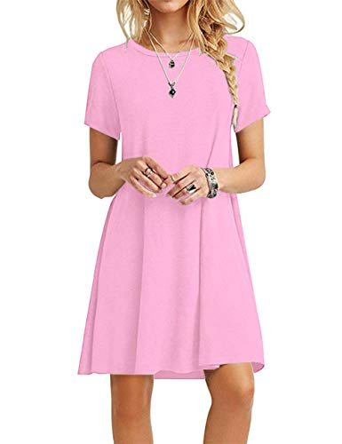 MOLERANI Women's Casual Plain Simple T-Shirt Loose Dress (S, New Pink2)