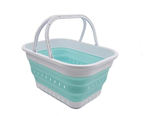 SAMMART 19L Collapsible Tub with Handle - Portable Outdoor Picnic Basket/Crater - Foldable Shopping Bag - Space Saving Storage Container (White/Lake Green, 1)
