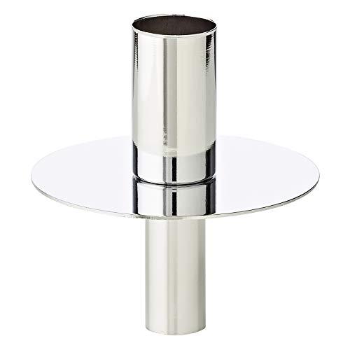EDZARD Kerzenhalter für Flasche, passt zu normalen Stabkerzen mit Ø 2cm, Flaschenkerzenhalter, Kerzenständer, Flaschenaufsatz, silberfarben, Höhe 8 cm