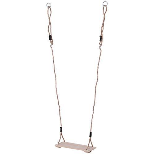 Outsunny Altalena da Giardino con Corda in Canapa Regolabile per Bambini Legno 40x16x120cm