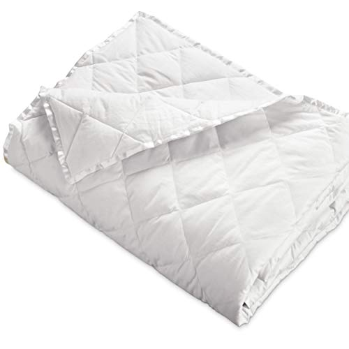 Hypoallergenic 230 TC Oversized King Down Blanket with Satin Trim - Light Weight - Perfect for Summer - Available in White & Ivory 113' x 104' (Oversized King, White)