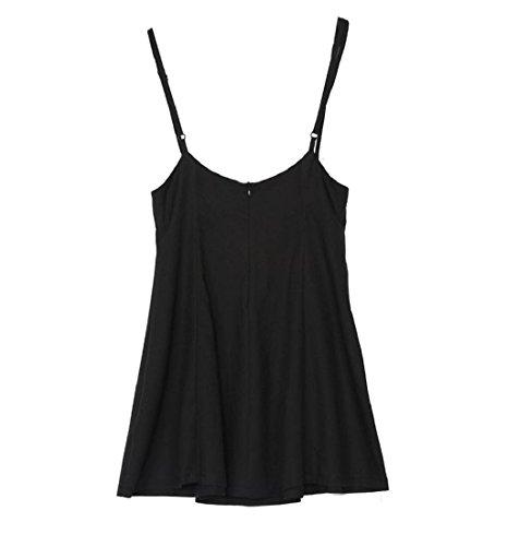 Rcool Frauen Mode schwarzen Rock mit Schulterriemen plissiert Mini Kleid Schwarz (XXL) - 5
