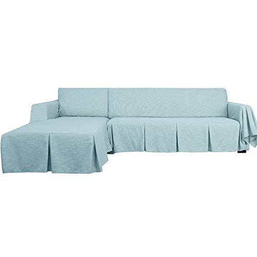 GYHH 2-teilige Schnittsofa-Abdeckung Waschbare L-förmige Sofabezüge Mit Rüschen Haustiere Schonbezüge Für Schnittsofa Haltbare Möbelschutz-Schonbezüge (Light Blue,3-Seat+Right Chaise)