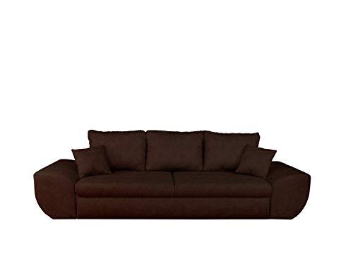 lifestyle4living Big Sofa in braun mit Schlaffunktion und Bettkasten, Microfaser | XXL Couch inkl. 3 extragroßen Rücken-Kissen und hochwertiger Federung