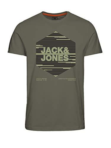 Jack & Jones JCOKOPA tee SS FST Camiseta, Deep Lichen Green/Fit: Slim, M para Hombre