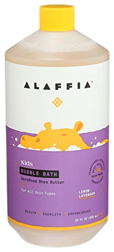 Alaffia Kids Lemon Lavender Bubble Bath, 32 OZ. Gentle and Calming for Sensitive & Dry Skin. Made with Fair Trade Shea Butter, No Parabens, Cruelty Free, Vegan.