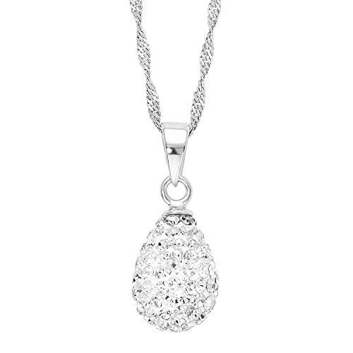 amor Kette mit Anhänger für Damen Singapur 42 cm mit Anhänger Tropfen 925 Sterling Silber rhodiniert Kristall weiß